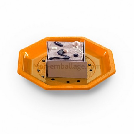 Assiette plastique octogonale 18,5 cm orange