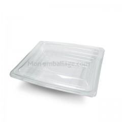 Barquette salade Pyramipack transparente 750 ml avec couvercle antibuée - par 40