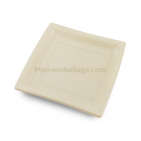 Assiette carrée ivoire 24 cm en plastique - par 50