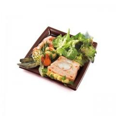 Assiette carrée marron 24 cm en plastique - par 50