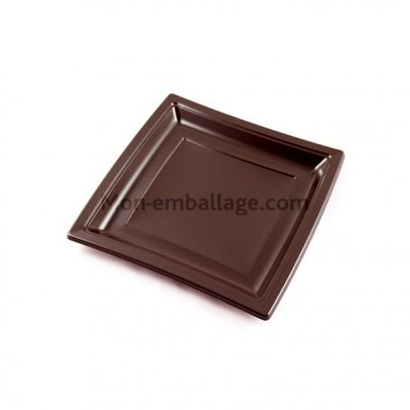 Assiette carrée marron 18,5 cm en plastique - par 50