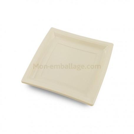 Assiettes carrées ivoire 18,5 cm en plastique - par 50
