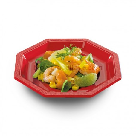 Assiette plastique octogonale rouge 24 cm
