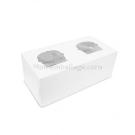 Boîte pour 2 cupcakes blanche avec fenêtre - par 160