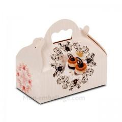 Boîte pâtissière avec poignée 18 x 10 x 7 cm décor BAROQUE- par 50