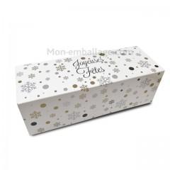 Boîte à bûche décor HIVER BLANC 40 x 11 x 10.5 cm - par 25
