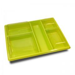 Plateau repas 5 compartiments vert anis avec couvercle 32 x 25,7 x 3 cm - par 25