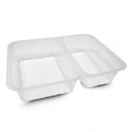 Barquette plastique scellable transparente 2 compartiments 1380 ml Alphacel - par 420