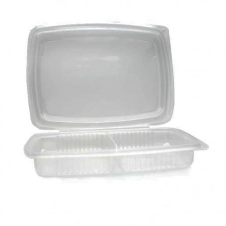 Barquette plastique Ondipack 2 compartiments 1400 ml avec couvercle - par 100