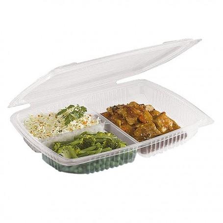 Barquette plastique Ondipack 3 compartiments 1350 ml avec couvercle - par 100