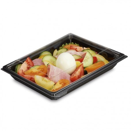 Boite plastique à salade FRESHIPACK noire 900 ml avec couvercle - par 180