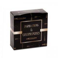 Boîte pâtissière 22 x 22 x 8 cm décor INSPIRATION - par 50