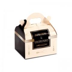 Boîte pâtissière avec poignée 12 x 10 x 7 cm décor INSPIRATION - par 50