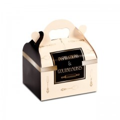 Boîte pâtissière avec poignée 18 x 10 x 7 cm décor INSPIRATION - par 50