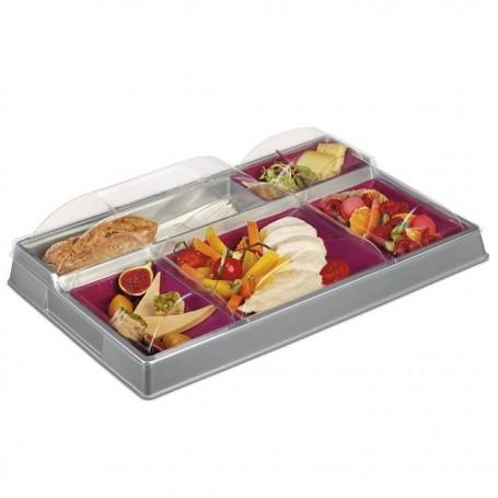 Plateau repas froid gris/prune 5 compartiments - par 80