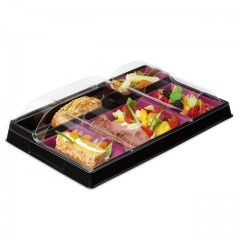 Plateau repas froid noir/prune 5 compartiments - par 80