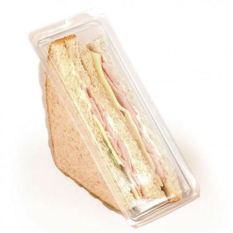 Boîte triangle 2 sandwichs cristal avec couvercle à charnière - paquet de 560