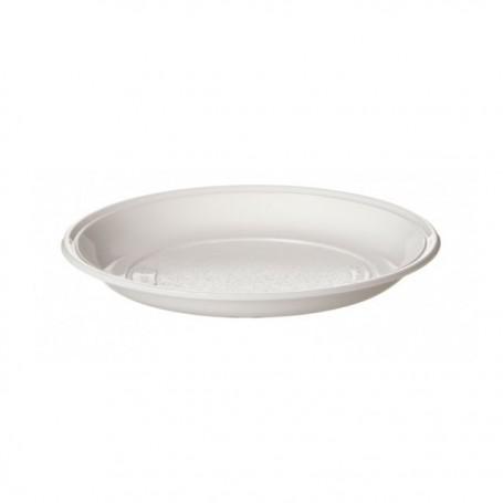 Assiette plastique ronde 15 cm creuse blanche - par 100