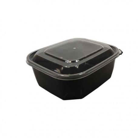 Barquette plastique PP noir 500 ml avec couvercle - par 68