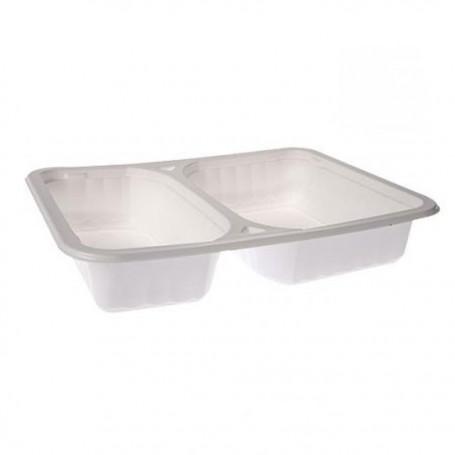 Barquette plastique blanche 2 compartiments 22,7 x 17,7 x 4,5 cm - par 100