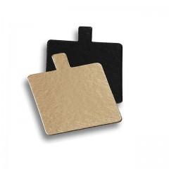 Carré avec languette or/noir 8 x 8 cm - par 200