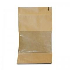 Sachet Doypack kraft brun avec zip et fenêtre 16 x 8 x 27 cm - par 100