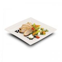 Assiette carrée biodégradable en PLA 24 x 24 cm - par 50