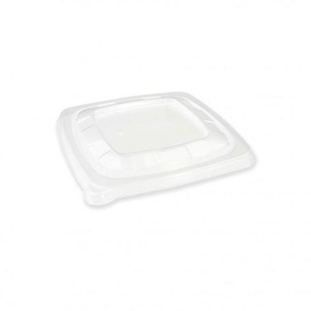 Couvercle carré PP pour saladiers bagasse 500 ml - par 75