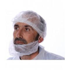 Cache barbe non tissé blanc sans latex - par 100