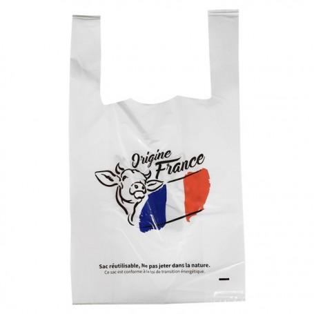 "Sac bretelles ""Origine France"" PEBD 50 microns blanc 26 x 6 x 45 cm - par 500"