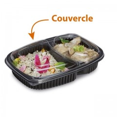 Couvercle transparent pour barquette COOKIPACK 1250 ml 2 compartiments - par 320