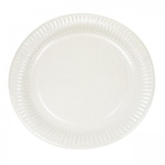 Assiette ronde blanche Ø 23 cm biodégradable - par 100