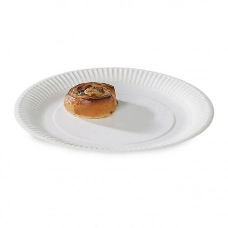 Assiette ronde blanche diamètre 18 cm biodégradable - par 100