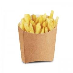 Petit étui à frites kraft brun en carton 250 ml - par 600