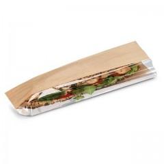 Sac sandwich kraft brun ingraissable avec fenêtre latérale 10 x 5,5 x 35 cm - par 1000