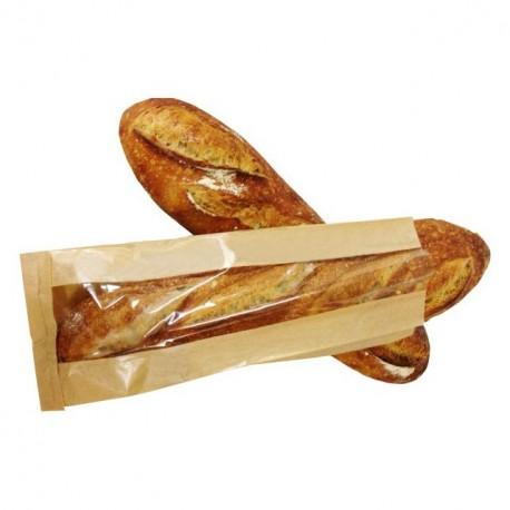 Sac à pain kraft brun à fenêtre 19 x 7 x 36 cm pour 2 baguettes