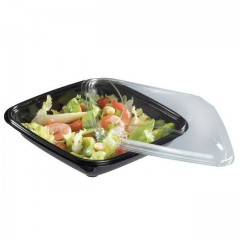 Boite à salade crudipack 500 ml noire avec couvercle - par 80
