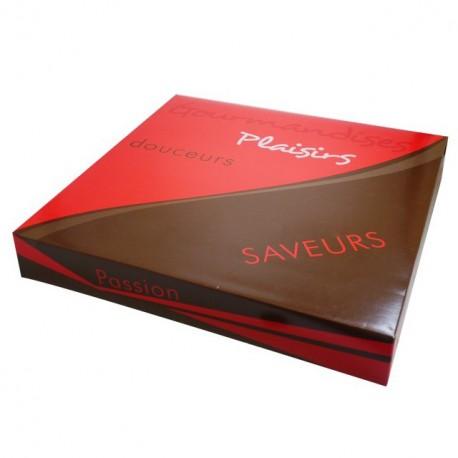 Boîte pâtissière rouge 33 x 33 x 5 cm décor SMACK - par 50