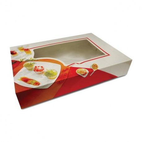 Boîte pâtissière traiteur à fenêtre 46 x 32 x 8 cm - par 25