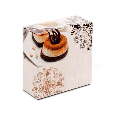 Boîte pâtissière 26 x 26 x 5 cm décor BAROQUE - par 50