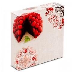 Boîte pâtissière 16 x 16 x 5 cm décor BAROQUE - par 50