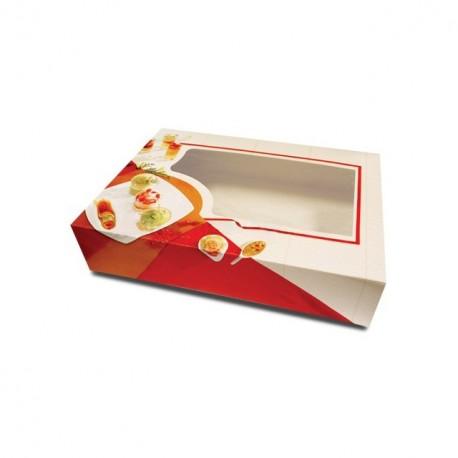 Boîte pâtissière traiteur à fenêtre 35 x 25 x 8 cm - par 50