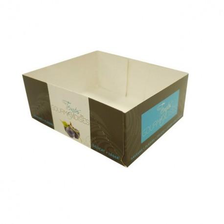 Caissette pâtissière bleue 13 x 10,5 x 5 cm décor TEMPO - par 100