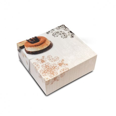 Boîte pâtissière 25 x 25 x 8 cm décor BAROQUE - par 50