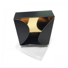 Grande boite gourmande noire 800 gr pour 24 macarons 16 x 16 x 4,5 cm - par 10