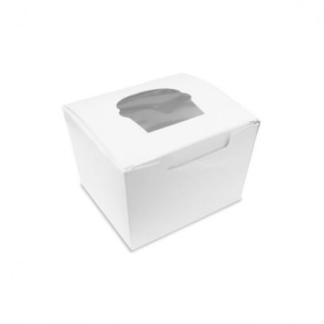 Boîte à cupcake individuelle blanche avec fenêtre - par 200