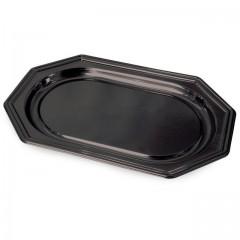 Plat de présentation octogonal noir 36 x 24 cm - par 10