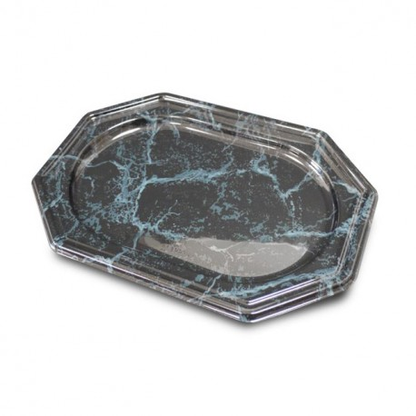 Plat de présentation octogonal marbré 27 x 19 cm - par 5