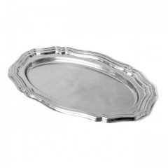 Grand plat ovale 46 x 30 cm argent - paquet de 5