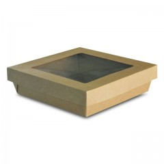 Barquette kraft brun 1000 ml ingraissable avec fenêtre - par 40